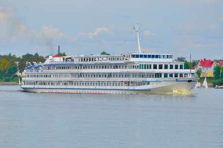 the volga river: Motor ships in Volga river, Yaroslavl, Russia