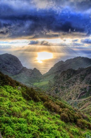 Sunset in North-West mountains of Tenerife, Canarian Islands photo