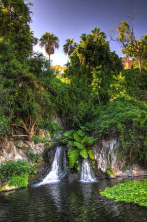 canarian: Lake with waterfall, Tenerife, Canarian Islands Stock Photo