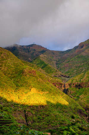Sunset in North-West mountains of Tenerife near Masca village, Canarian Islands photo