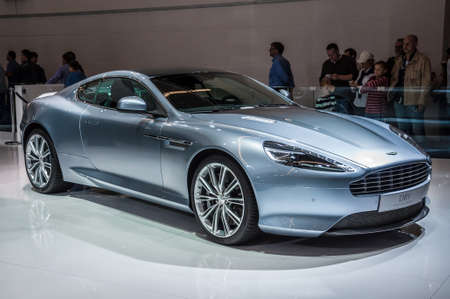 iaa: FRANKFURT - SEPT 21: Aston Martin DB9 presented as world premiere at the 65th IAA (Internationale Automobil Ausstellung) on September 21, 2013 in Frankfurt, Germany