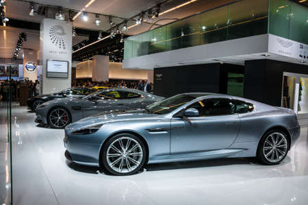 FRANKFURT - SEPT 21: Aston Martin DB9 presented as world premiere at the 65th IAA (Internationale Automobil Ausstellung) on September 21, 2013 in Frankfurt, Germany