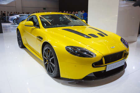 FRANKFURT - SEPT 21: ASTON MARTIN V12 VANTAGE S presented as world premiere at the 65th IAA (Internationale Automobil Ausstellung) on September 21, 2013 in Frankfurt, Germany Editorial