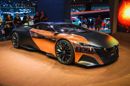 FRANKFURT - SEPT 21: Peugeot Onyx hybrid supercar (conceptcar) presented as world premiere at the 65th IAA (Internationale Automobil Ausstellung) on September 21, 2013 in Frankfurt, Germany