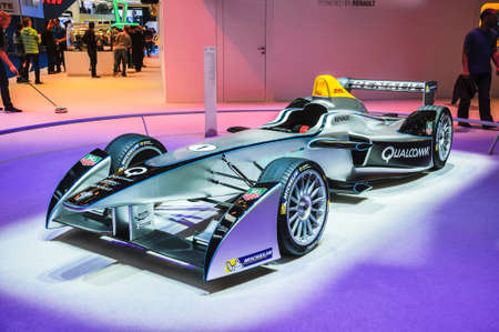FRANKFURT - SEPT 21: Spark-Renault Formula E Race Car presented as world premiere at the 65th IAA (Internationale Automobil Ausstellung) on September 21, 2013 in Frankfurt, Germany