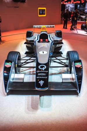 racecar: FRANKFURT - SEPT 21: Spark-Renault Formula E Race Car presented as world premiere at the 65th IAA (Internationale Automobil Ausstellung) on September 21, 2013 in Frankfurt, Germany