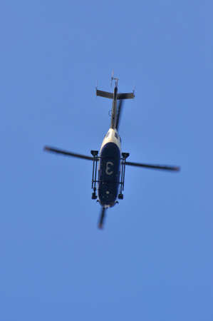 demonstration: FRANKFURT, GERMANY - MARCH 18, 2015: Police helicopter, Demonstration Blockupy