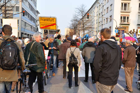 demonstration: FRANKFURT, GERMANY - MARCH 18, 2015: Crowds of protesters, Demonstration Blockupy Editorial