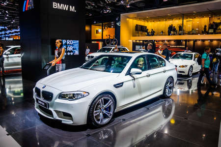 motorshow: MOSCOW, RUSSIA - AUG 2012: BMW 5ER F10 F11 presented as world premiere at the 16th MIAS Moscow International Automobile Salon on August 30, 2012 in Moscow, Russia