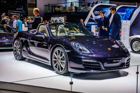 30 s: MOSCOW, RUSSIA - AUG 2012: PORSCHE BOXSTER S 981 presented as world premiere at the 16th MIAS Moscow International Automobile Salon on August 30, 2012 in Moscow, Russia Editorial