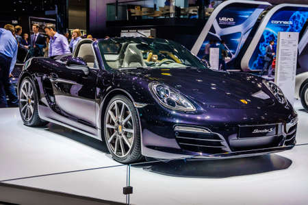 motorshow: MOSCOW, RUSSIA - AUG 2012: PORSCHE BOXSTER S 981 presented as world premiere at the 16th MIAS Moscow International Automobile Salon on August 30, 2012 in Moscow, Russia Editorial