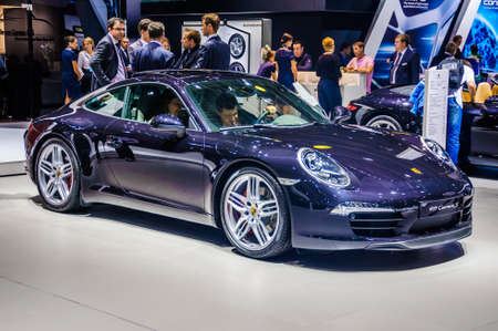 30 s: MOSCOW, RUSSIA - AUG 2012: PORSCHE 911 CARRERA S COUPE 991 presented as world premiere at the 16th MIAS Moscow International Automobile Salon on August 30, 2012 in Moscow, Russia Editorial