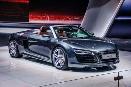 MOSCOW, RUSSIA - AUG 2012: AUDI R8 SPYDER V10 presented as world premiere at the 16th MIAS Moscow International Automobile Salon on August 30, 2012 in Moscow, Russia Editorial