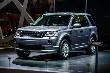 off road racing: MOSCOW, RUSSIA - AUG 2012: LAND ROVER FREELANDER II presented as world premiere at the 16th MIAS Moscow International Automobile Salon on August 30, 2012 in Moscow, Russia
