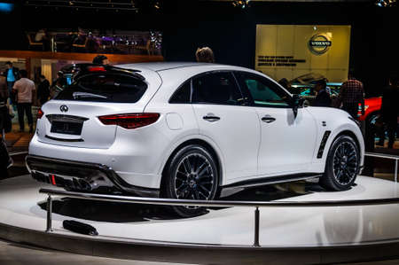 infiniti: MOSCOW, RUSSIA - AUG 2012: INFINITI QX70 presented as world premiere at the 16th MIAS Moscow International Automobile Salon on August 30, 2012 in Moscow, Russia