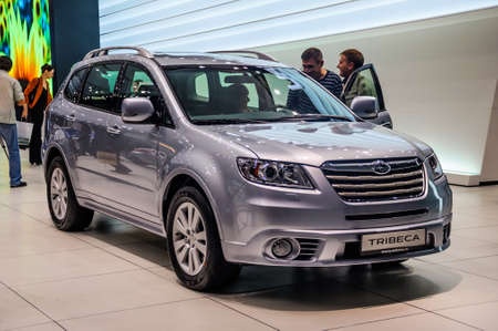 off road racing: MOSCOW, RUSSIA - AUG 2012: SUBARU TRIBECA 2ND GENERATION presented as world premiere at the 16th MIAS Moscow International Automobile Salon on August 30, 2012 in Moscow, Russia Editorial