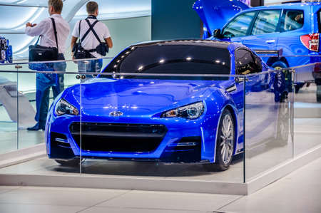 motorshow: MOSCOW, RUSSIA - AUG 2012: SUBARU BRZ presented as world premiere at the 16th MIAS Moscow International Automobile Salon on August 30, 2012 in Moscow, Russia Editorial