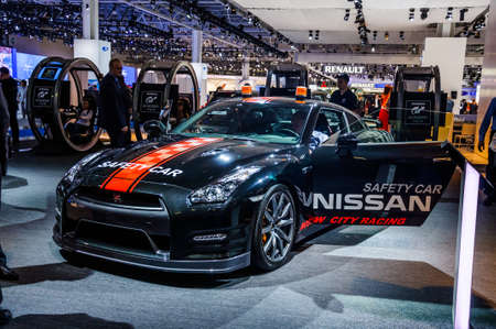 nissan: MOSCOW, RUSSIA - AUG 2012: NISSAN GT-R R35 SAFETY CAR presented as world premiere at the 16th MIAS Moscow International Automobile Salon on August 30, 2012 in Moscow, Russia