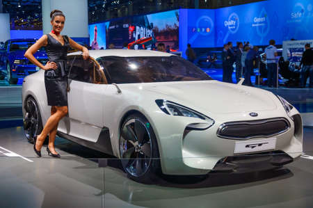 motorshow: MOSCOW, RUSSIA - AUG 2012: KIA GT CONCEPT presented as world premiere at the 16th MIAS Moscow International Automobile Salon on August 30, 2012 in Moscow, Russia Editorial
