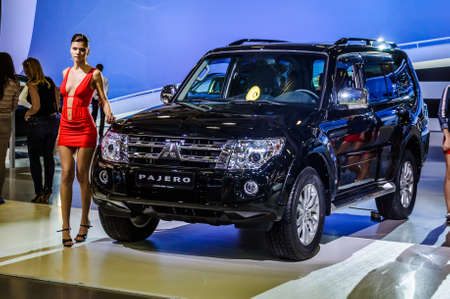 off road racing: MOSCOW, RUSSIA - AUG 2012: MITSUBISHI PAJERO 4TH GENERATION presented as world premiere at the 16th MIAS Moscow International Automobile Salon on August 30, 2012 in Moscow, Russia