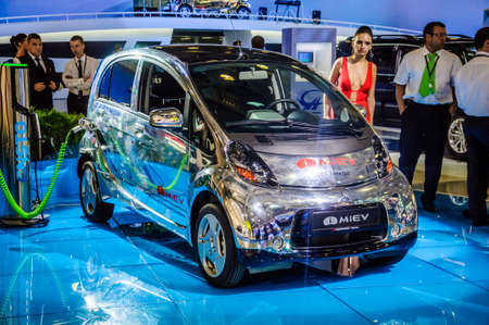 kw: MOSCOW, RUSSIA - AUG 2012: Mitsubishi i-MiEV 49 kW CVT ES presented as world premiere at the 16th MIAS Moscow International Automobile Salon on August 30, 2012 in Moscow, Russia