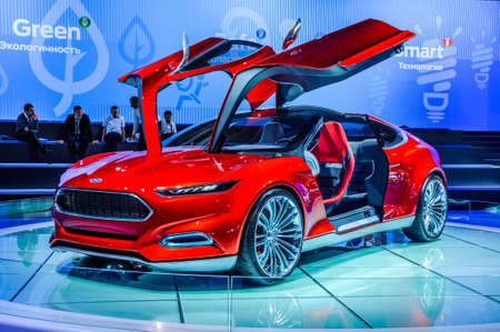 motorshow: MOSCOW, RUSSIA - AUG 2012: FORD EVOS CONCEPT presented as world premiere at the 16th MIAS Moscow International Automobile Salon on August 30, 2012 in Moscow, Russia Editorial