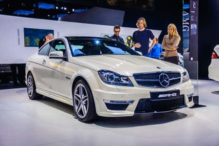 motorshow: MOSCOW, RUSSIA - AUG 2012: MERCEDES-BENZ C-CLASS AMG COUPE W204S204204 presented as world premiere at the 16th MIAS Moscow International Automobile Salon on August 30, 2012 in Moscow, Russia
