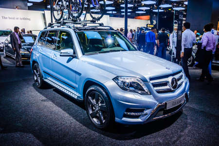 trade off: MOSCOW, RUSSIA - AUG 2012: MERCEDES-BENZ GLK-CLASS X204 presented as world premiere at the 16th MIAS Moscow International Automobile Salon on August 30, 2012 in Moscow, Russia