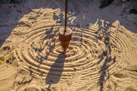 dowsing: Mathematical pendulum is drawing on the sand.