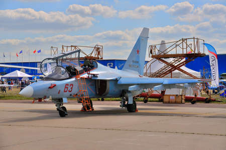 aerobatic: MOSCOW, RUSSIA - AUG 2015: attack aircraft Yak-130 Mitten presented at the 12th MAKS-2015 International Aviation and Space Show on August 28, 2015 in Moscow, Russia