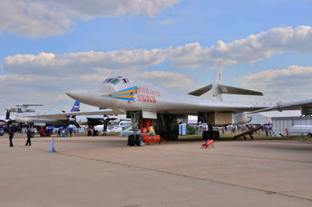 blackjack: MOSCOW, RUSSIA - AUG 2015: heavy strategic bomber Tu-160 Blackjack presented at the 12th MAKS-2015 International Aviation and Space Show on August 28, 2015 in Moscow, Russia Editorial