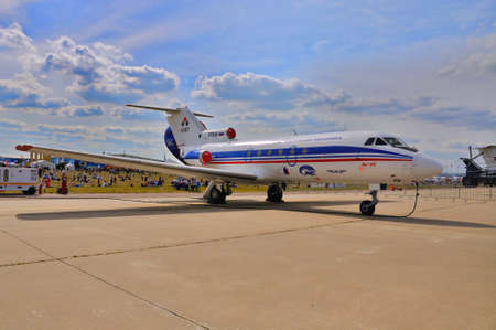 pilot light: MOSCOW, RUSSIA - AUG 2015: passenger jet Yak-40 presented at the 12th MAKS-2015 International Aviation and Space Show on August 28, 2015 in Moscow, Russia