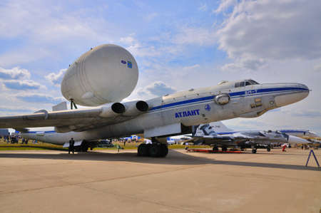 pilot light: MOSCOW, RUSSIA - AUG 2015: strategic-airlift airplane VM-T Atlant 3M-T presented at the 12th MAKS-2015 International Aviation and Space Show on August 28, 2015 in Moscow, Russia Editorial