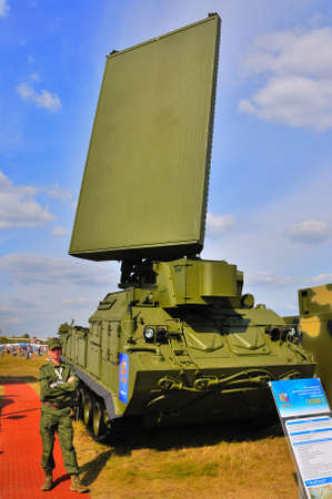 gadfly: MOSCOW, RUSSIA - AUG 2015: Station target detection anti-aircraft Buk missile system SA-11 Gadfly presented at the 12th MAKS-2015 International Aviation and Space Show on August 28, 2015 in Moscow, Russia Editorial
