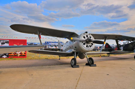 private i: MOSCOW, RUSSIA - AUG 2015: Soviet biplane fighter I-153 Chaika presented at the 12th MAKS-2015 International Aviation and Space Show on August 28, 2015 in Moscow, Russia