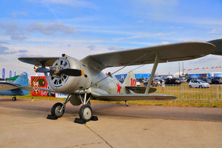 MOSCOW, RUSSIA - AUG 2015: Soviet biplane fighter I-153 Chaika presented at the 12th MAKS-2015 International Aviation and Space Show on August 28, 2015 in Moscow, Russia