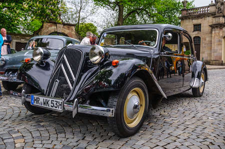 FULDA, GERMANY - MAI 2013: Citroen Traction Avant luxury retro car on Mai 9, 2013 in Fulda, Germany Editorial