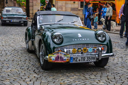 roadster: FULDA, GERMANY - MAI 2013: Triumph TR3 sports cabrio roadster retro car on Mai 9, 2013 in Fulda, Germany