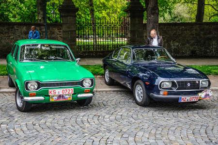escort: FULDA, GERMANY - MAI 2013: Ford Escort 1100 L and Lancia Fulvia Sport 1600 Zagato retro cars on Mai 9, 2013 in Fulda, Germany