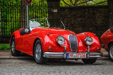roadster: FULDA, GERMANY - MAI 2013: Jaguar XK120 carbio roadster retro car on Mai 9, 2013 in Fulda, Germany Editorial