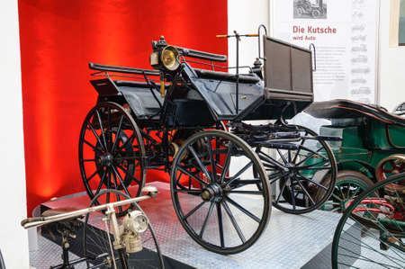 DRESDEN, GERMANY - MAI 2015: Daimler Motor carriage 1886 in Dresden Transport Museum on Mai 25, 2015 in Dresden, Germany