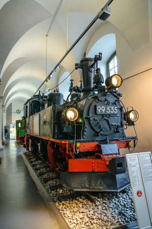 99: DRESDEN, GERMANY - MAY 2015: steam locomotive 99 535 Hartmann Chemnitz 1898 in Dresden Transport Museum on May 25, 2015 in Dresden, Germany Editorial