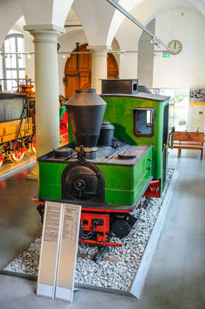 steam locomotive: DRESDEN, GERMANY - MAY 2015: Pechot-Bourdon Pechot-Bourdon Fairlie steam locomotive 1916 in Dresden Transport Museum on May 25, 2015 in Dresden, Germany
