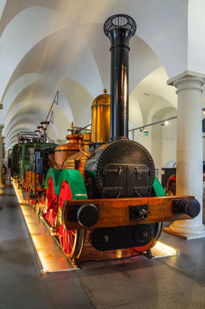 steam locomotive: DRESDEN, GERMANY - MAY 2015:  first steam locomotive Saxonia in Dresden Transport Museum on May 25, 2015 in Dresden, Germany