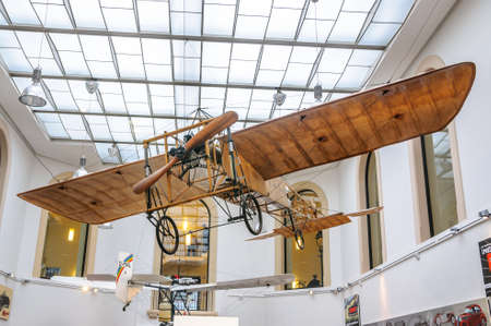 DRESDEN, GERMANY - MAY 2015: Early Airplane Bleriot XI 1909 in Dresden Transport Museum on May 25, 2015 in Dresden, Germany