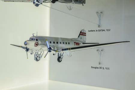 douglas: DRESDEN, GERMANY - MAY 2015: passenger plane Douglas DC-3 1935 in Dresden Transport Museum on May 25, 2015 in Dresden, Germany