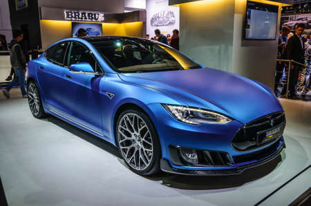 FRANKFURT - SEPT 2015: Tesla Model S Brabus presented at IAA International Motor Show on September 20, 2015 in Frankfurt, Germany