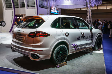 motor show: FRANKFURT - SEPT 2015: Porsche Cayenne presented at IAA International Motor Show on September 20, 2015 in Frankfurt, Germany