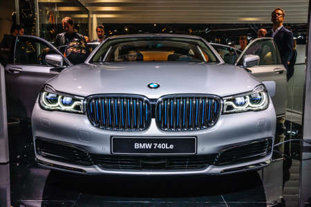 motor show: FRANKFURT - SEPT 2015: BMW 740Le presented at IAA International Motor Show on September 20, 2015 in Frankfurt, Germany