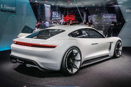 iaa: FRANKFURT - SEPT 2015: Porsche Mission E Concept presented at IAA International Motor Show on September 20, 2015 in Frankfurt, Germany